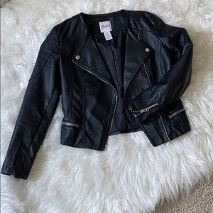 Cute faux leather motto jacket